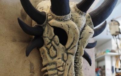 Freie Modellation eines Drachenschädels, fertig modelliert